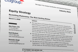 Memorando Vazado do Citibank Citigroup Revela Ausência de Ética Econômica e Social